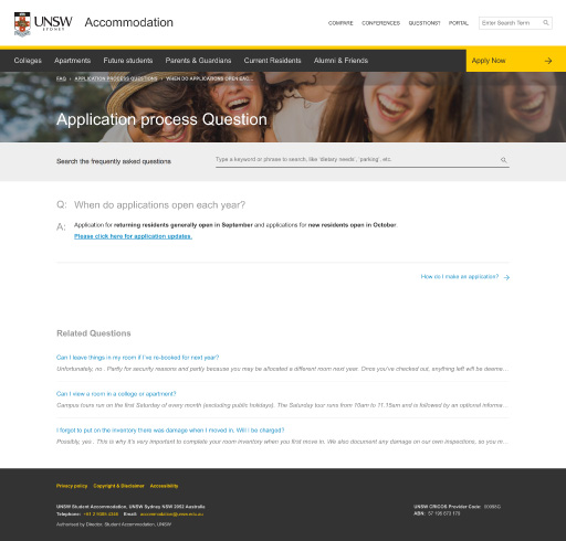 UNSW Accommodation - FAQ Answers